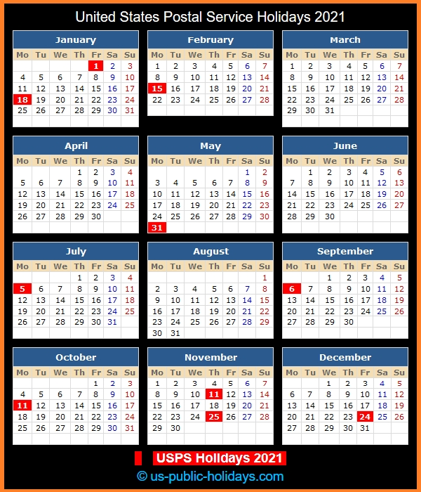 United States Postal Service Holidays 2021