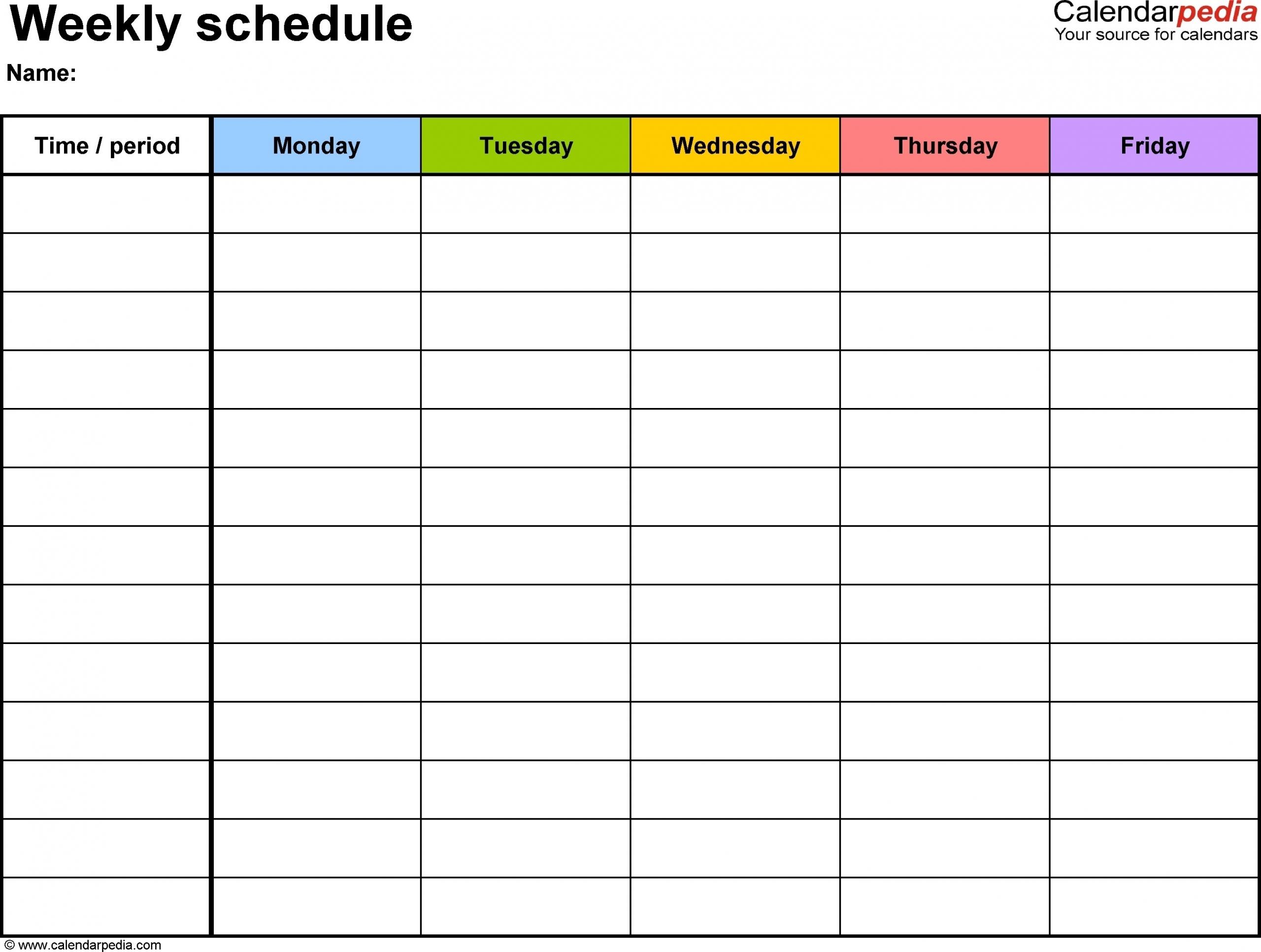 Weekly Calendar With Time Slots | Ten Free Printable