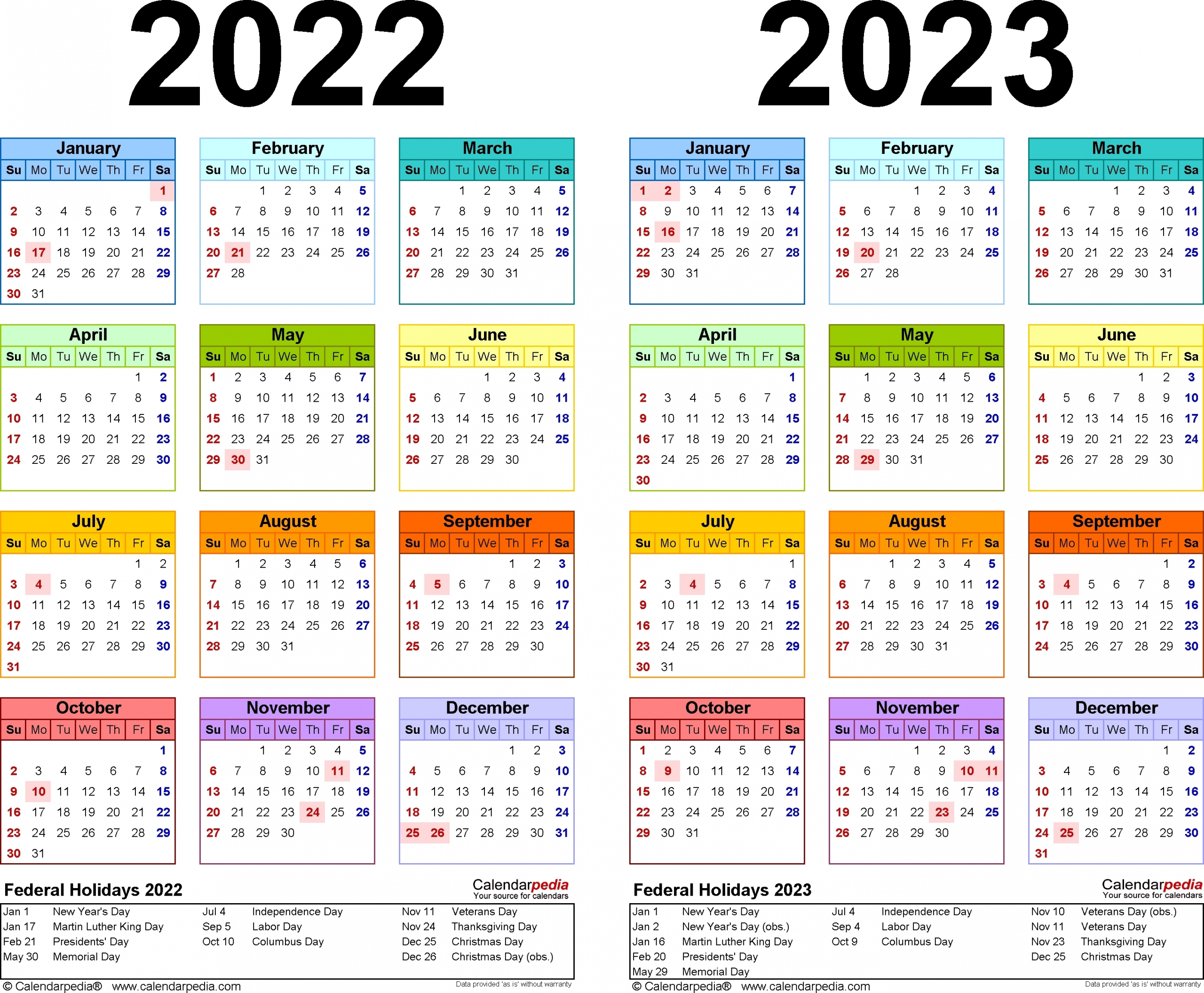 1 Page Printable 2023 Calendar - Calendar Inspiration Design