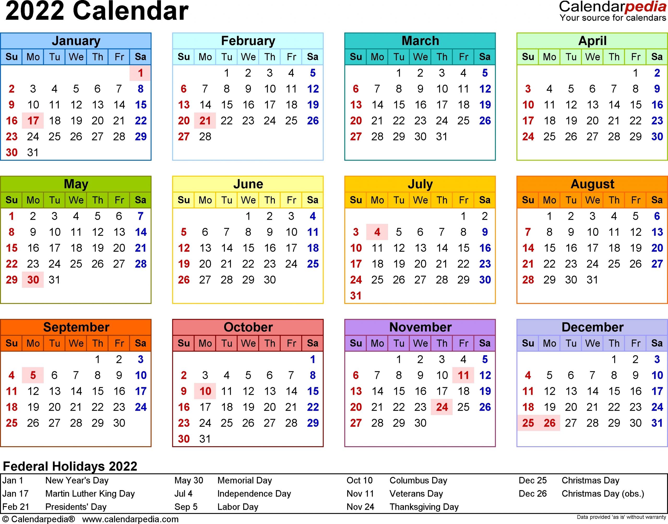 1 Year Calendar At A Glance | Ten Free Printable Calendar
