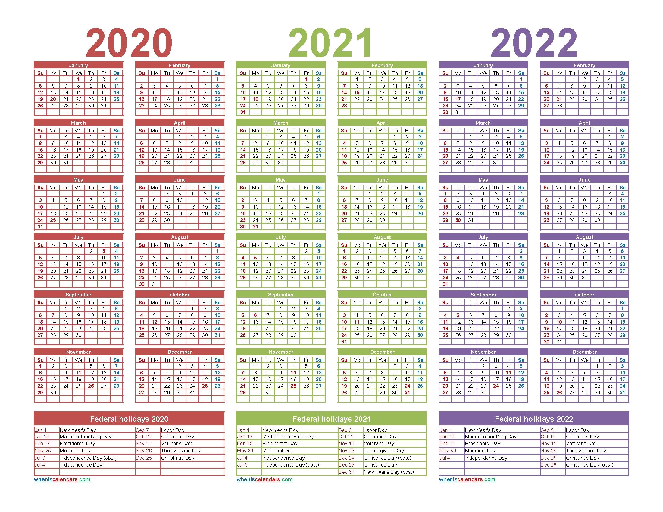 2 Year 2021 2022 Calendar Printable | Free Letter Templates