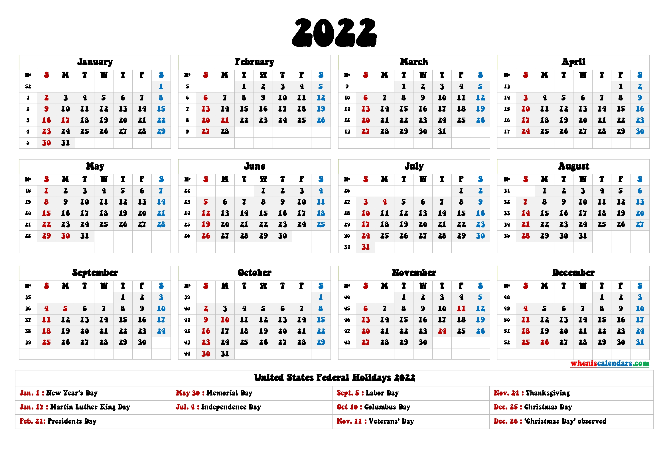 20+ 2022 Holidays - Free Download Printable Calendar