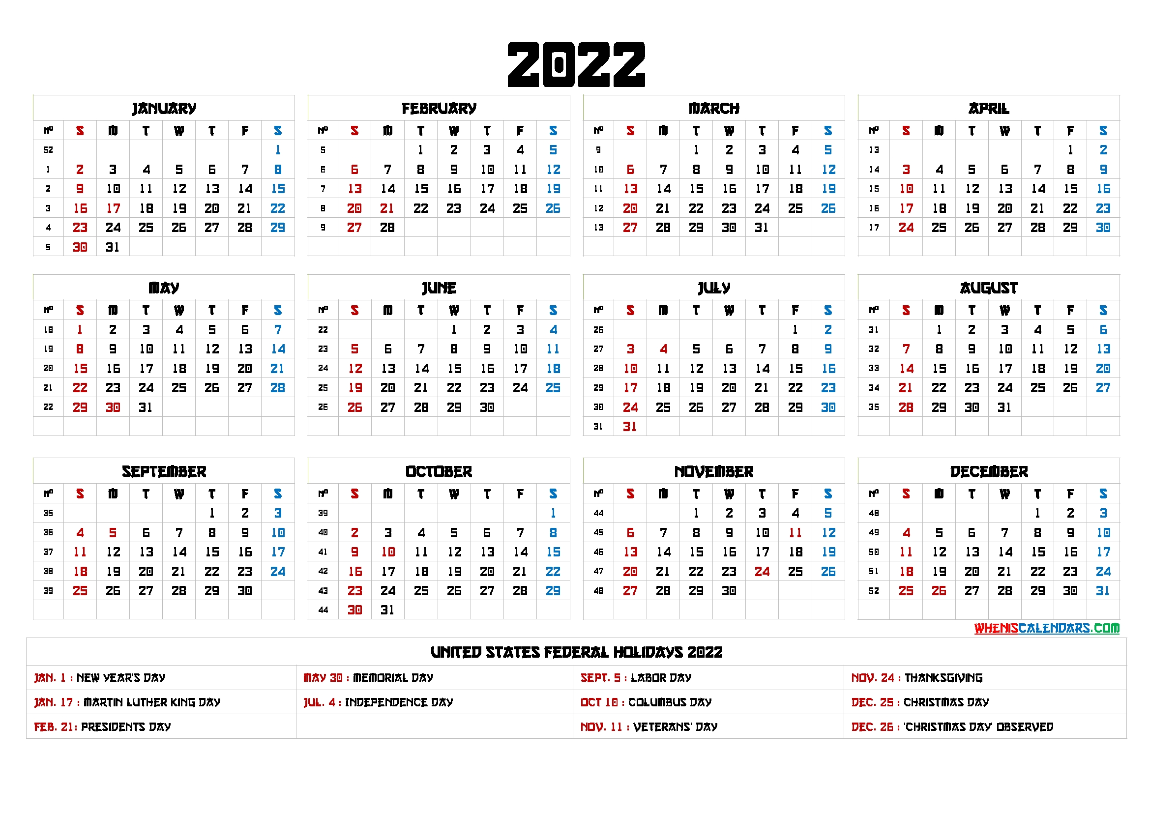20+ 2022 Year Calendar - Free Download Printable Calendar