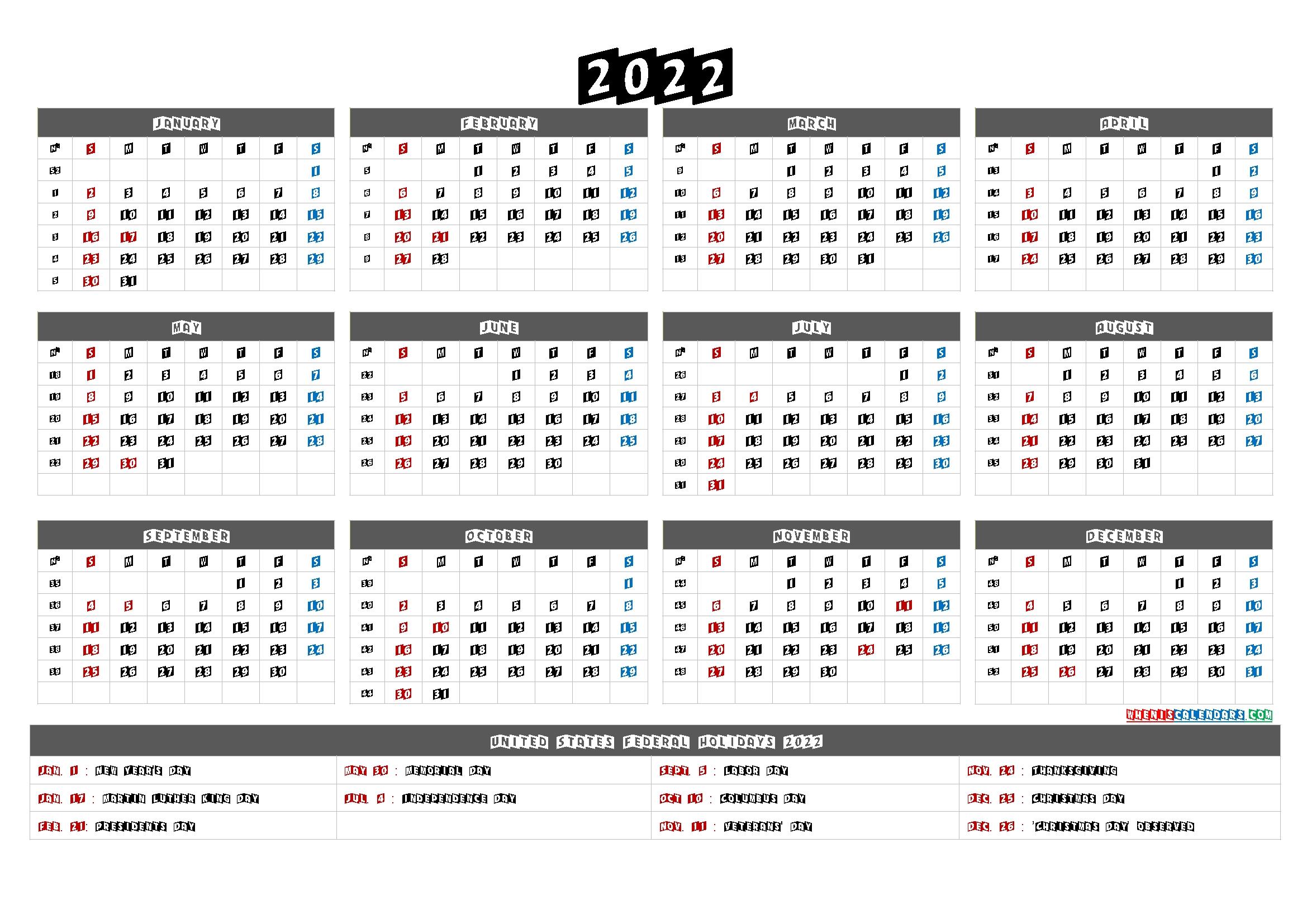 20+ Calendar For 2022 Printable - Free Download Printable