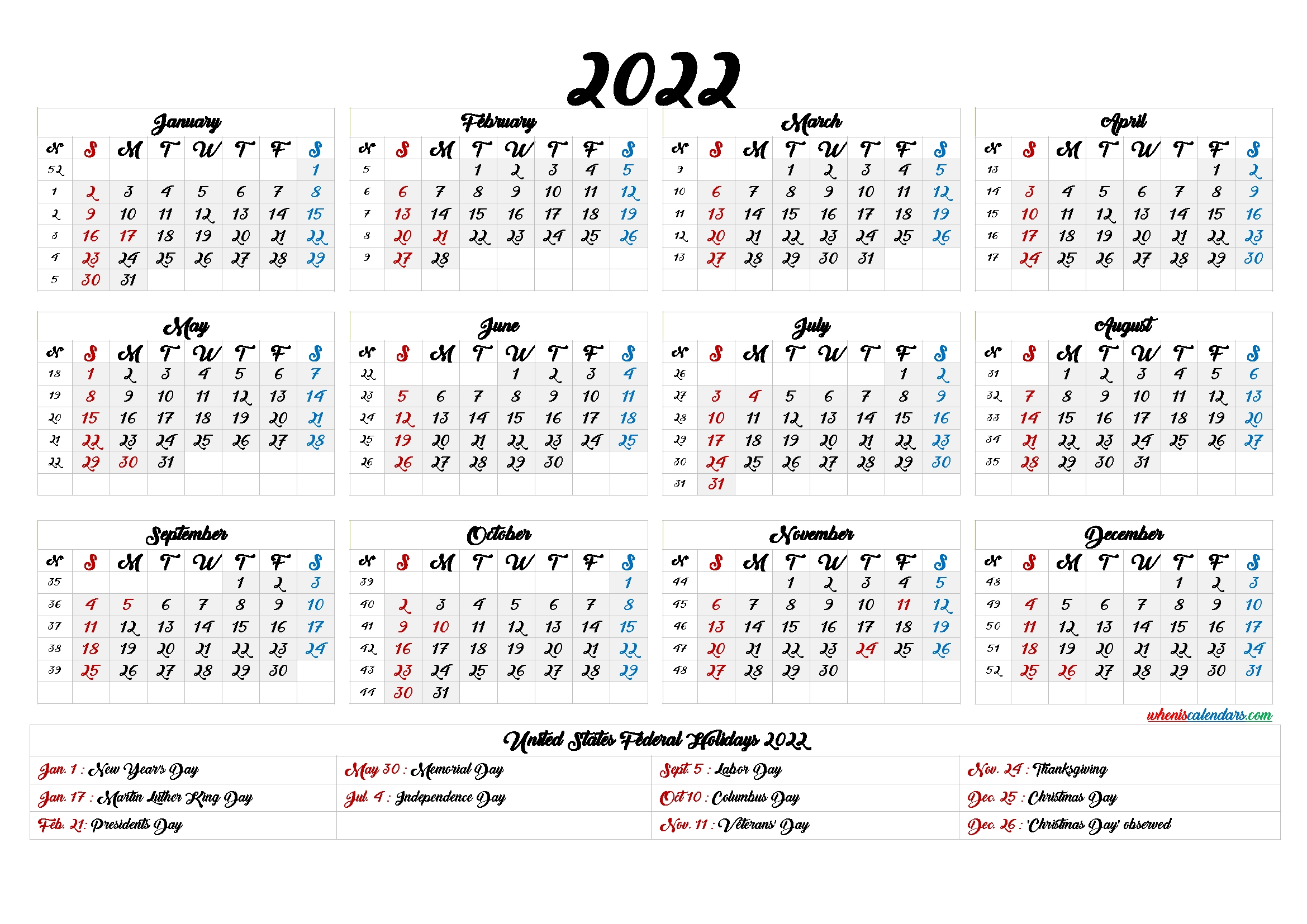 20+ Yearly Calendar 2022 - Free Download Printable