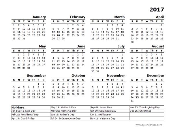 2017 Year Calendar Template Us Holidays - Free Printable