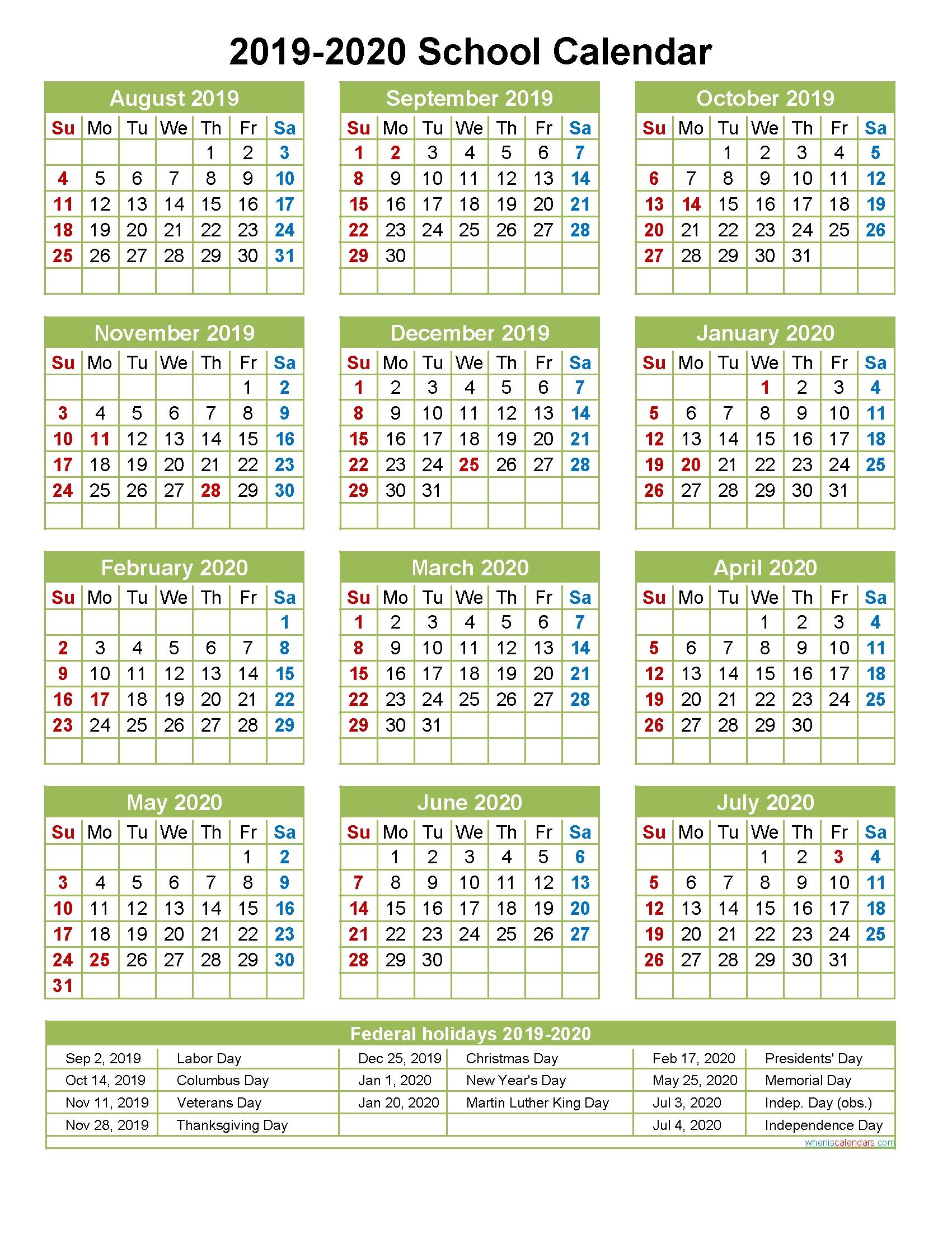 2019 And 2020 School Calendar Printable (Portrait