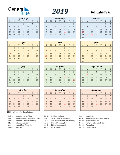 2019 Calendar - Bangladesh With Holidays
