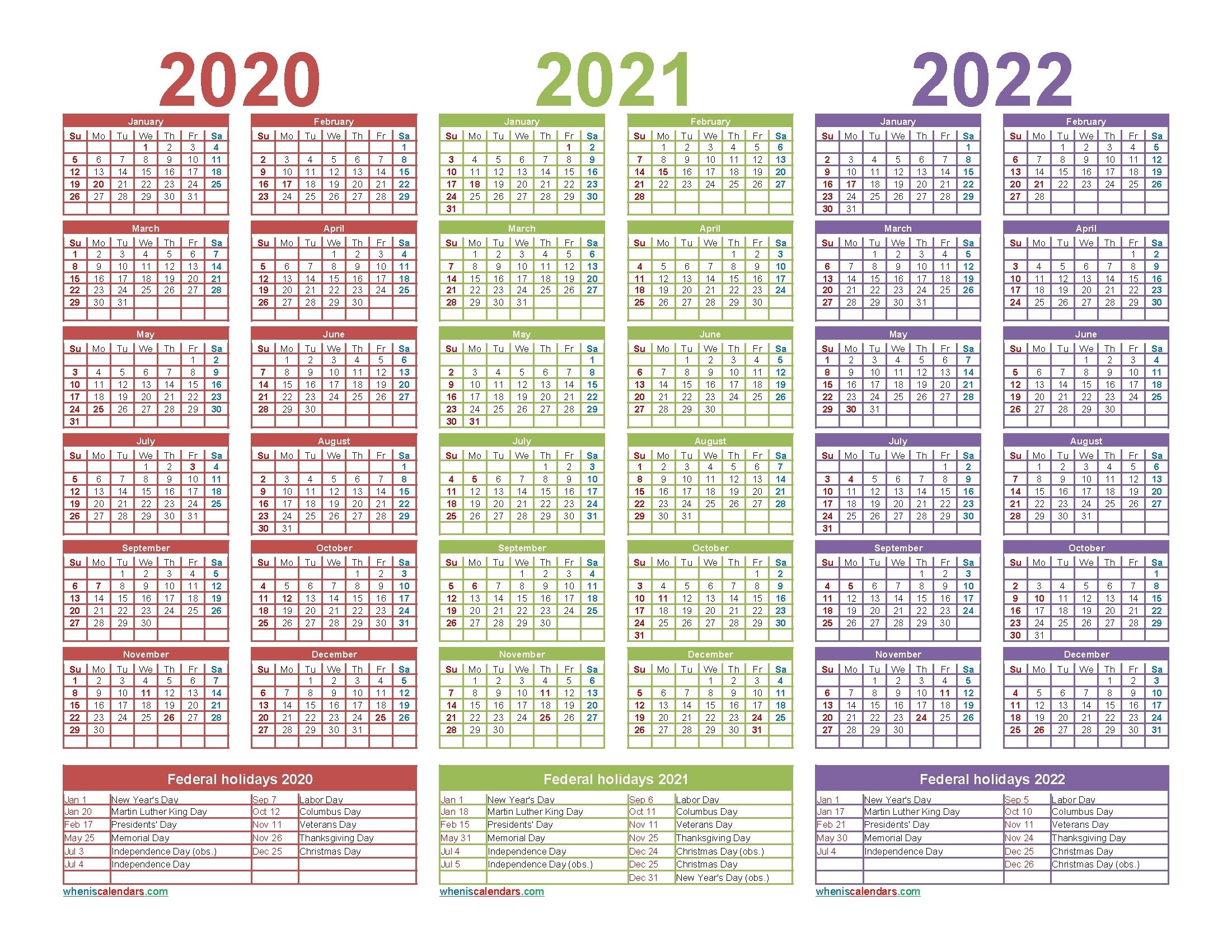 2020 2021 2022 2023 Calendar Printable One Page - Calendar