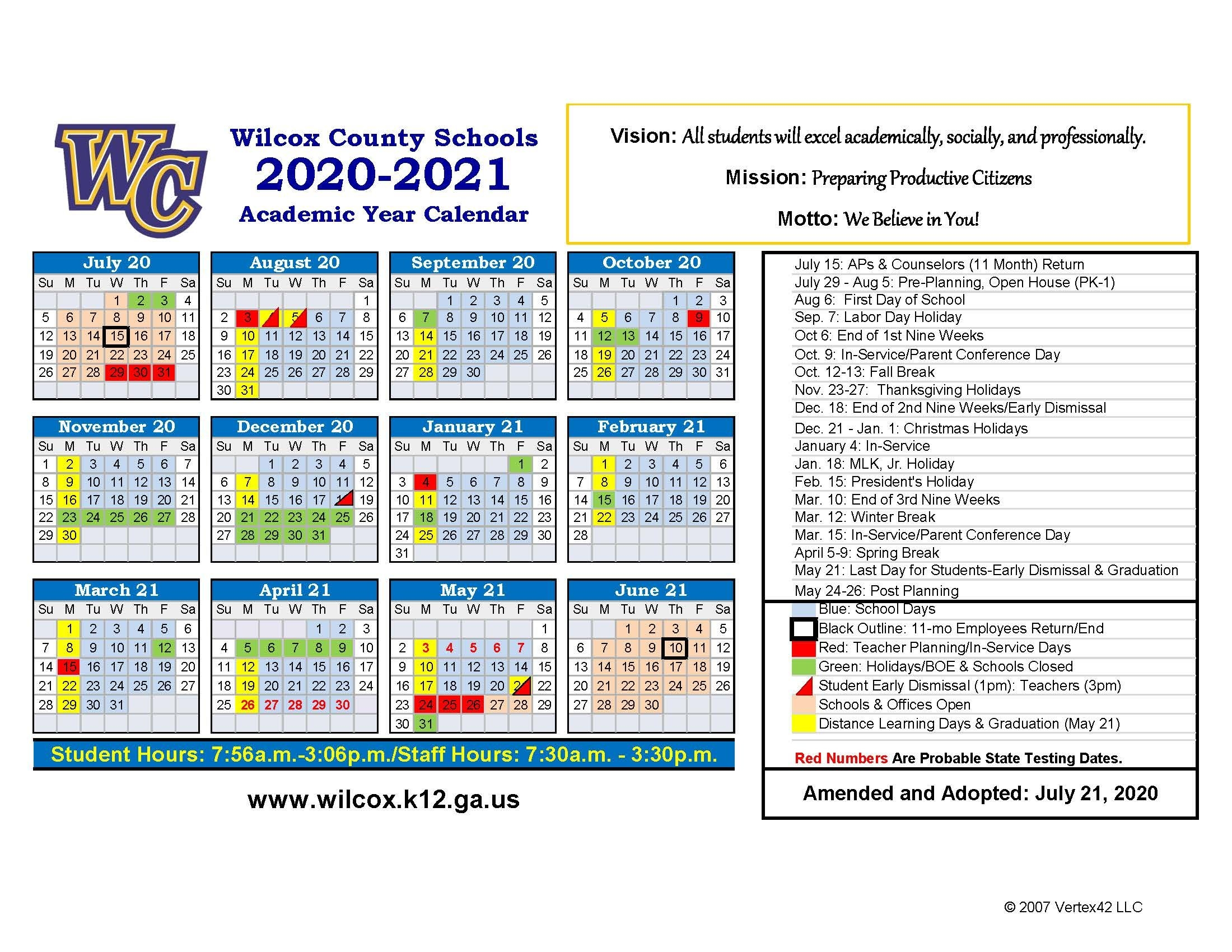 2020-2021 School Calendar (Amended 7/22/2020) - Wilcox