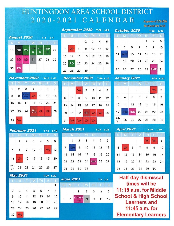 2020-2021 School Calendar - Rev. 081720 - Huntingdon Area