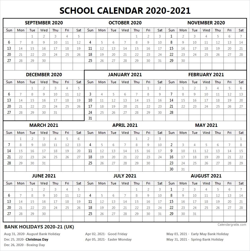2020-2021 School Calendar Template   Academic Calendar 2020/21