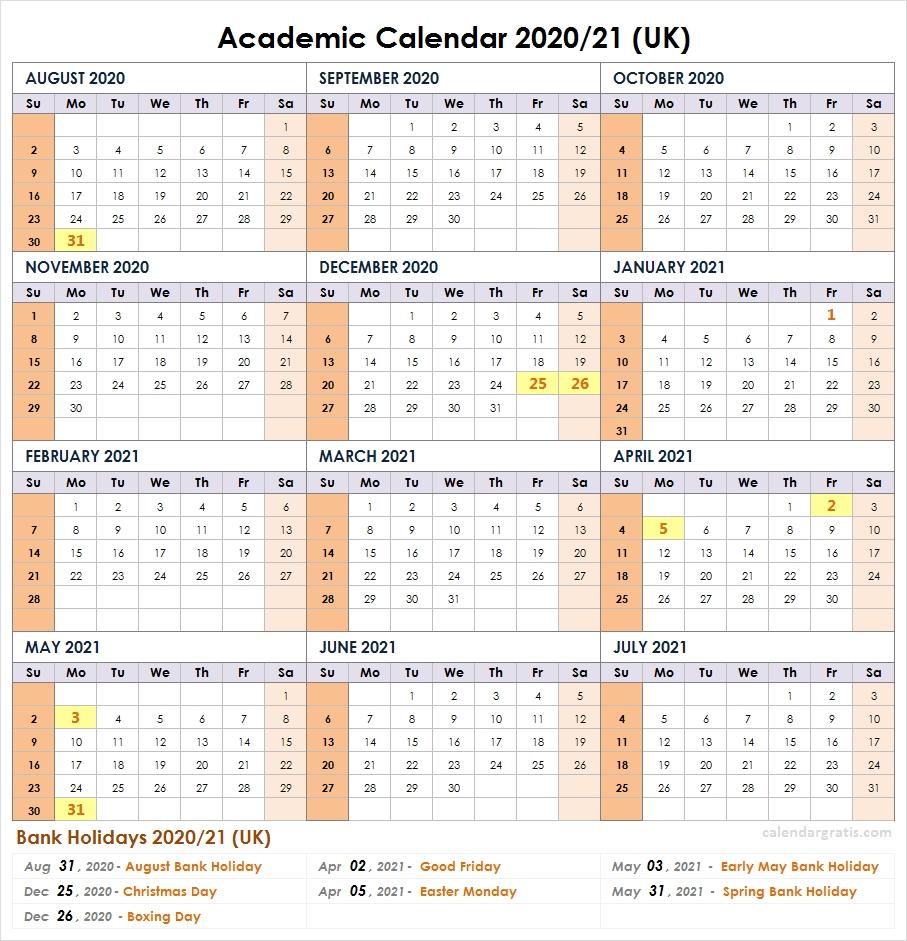 2020-2021 School Calendar Template   Academic Calendar