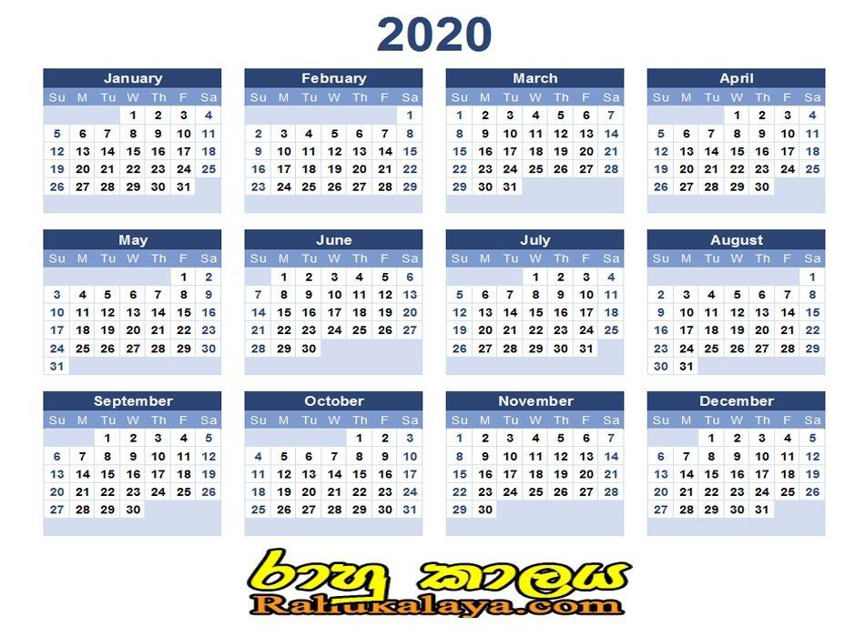 2020 Calendar - Rahu Kalaya   රාහු කාලය