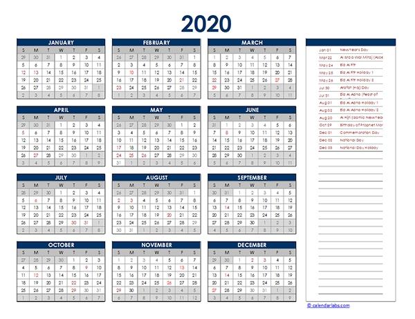 2020 Uae Yearly Excel Calendar - Free Printable Templates