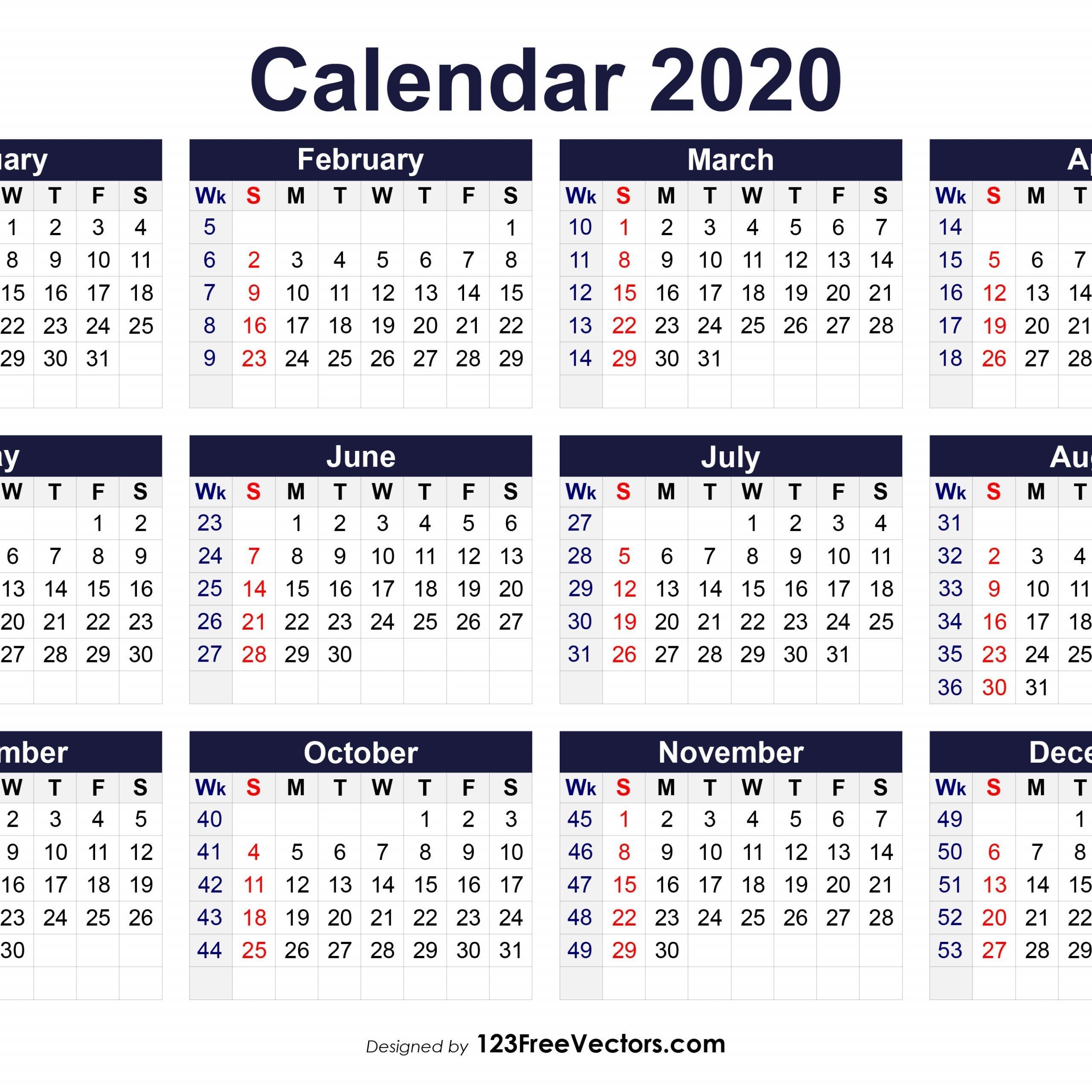 2020 Weekly Calendar With Week Numbers | Free Printable