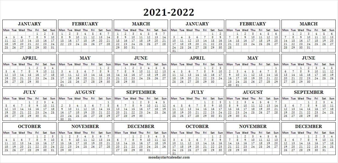 2021-2022 Academic Calendar - Blank Calendar Template 2021