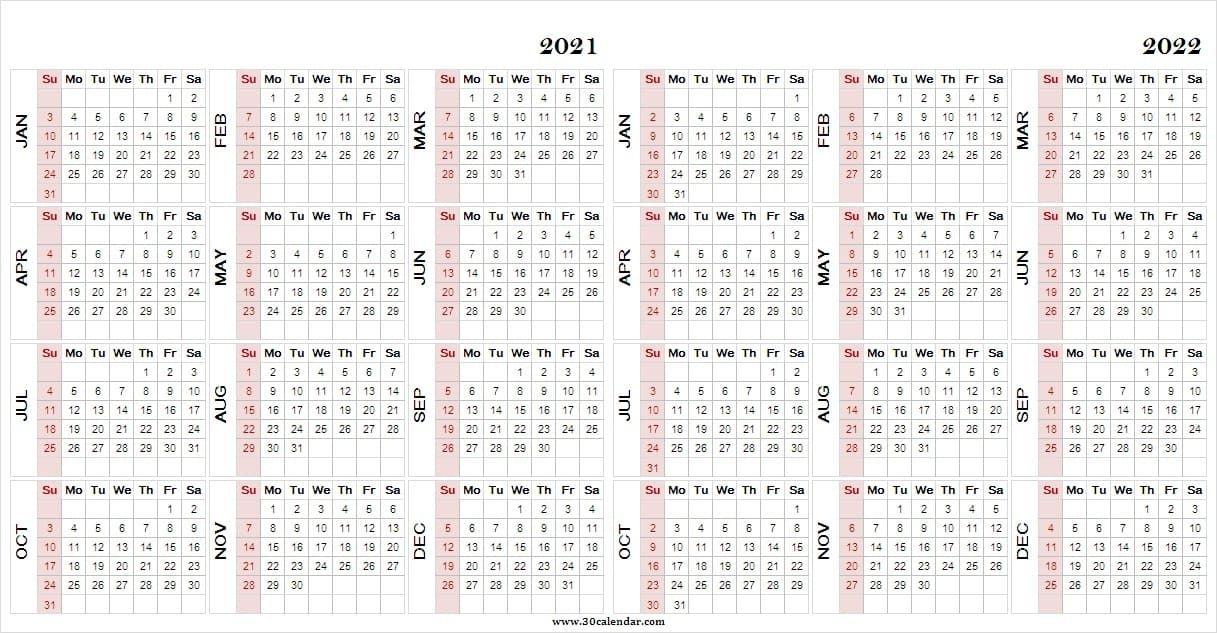 2021-2022 Printable Calendar - Two Year Calendar Template