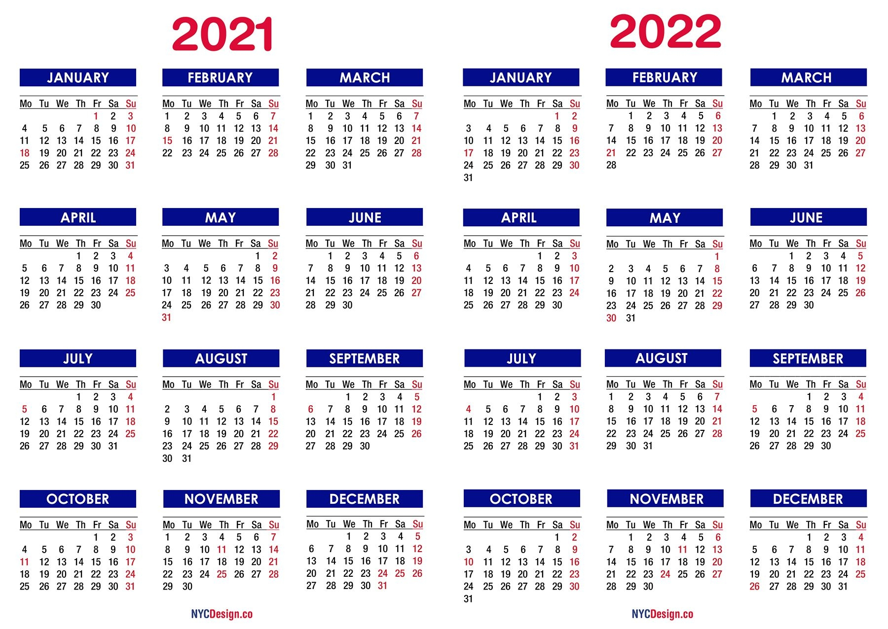 2021 - 2022 Two Year Calendar With Holidays, Printable