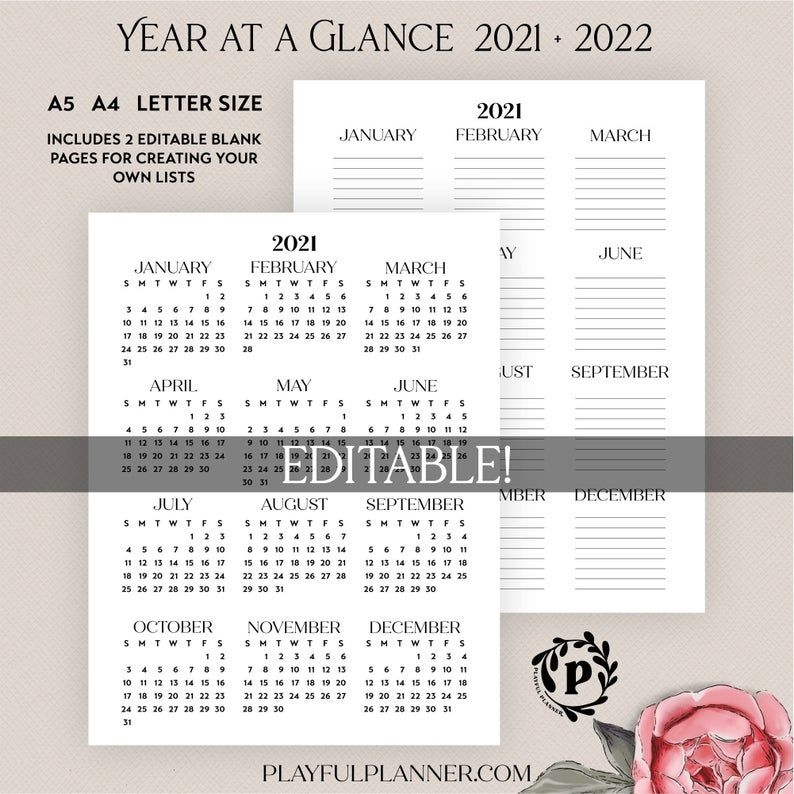 2021 2022 Year At A Glance Editable Printable Yearly
