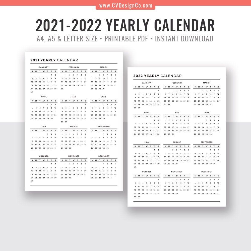 2021-2022 Yearly Calendar, Year At A Glance, Digital