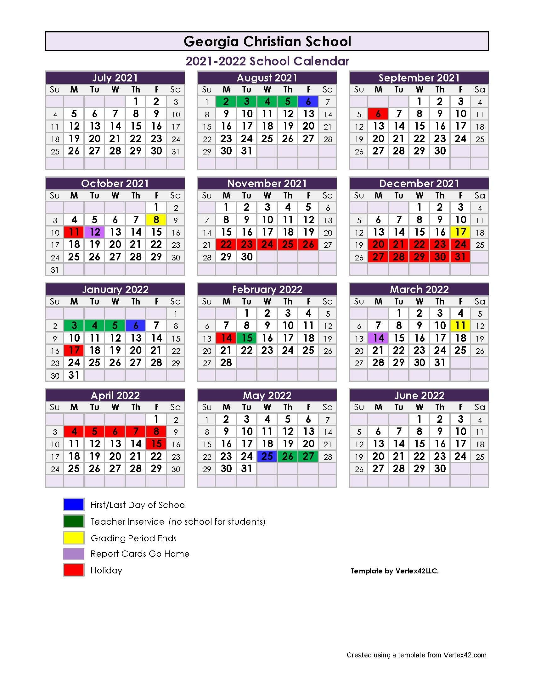 2021-22 School Calendar - Georgia Christian School