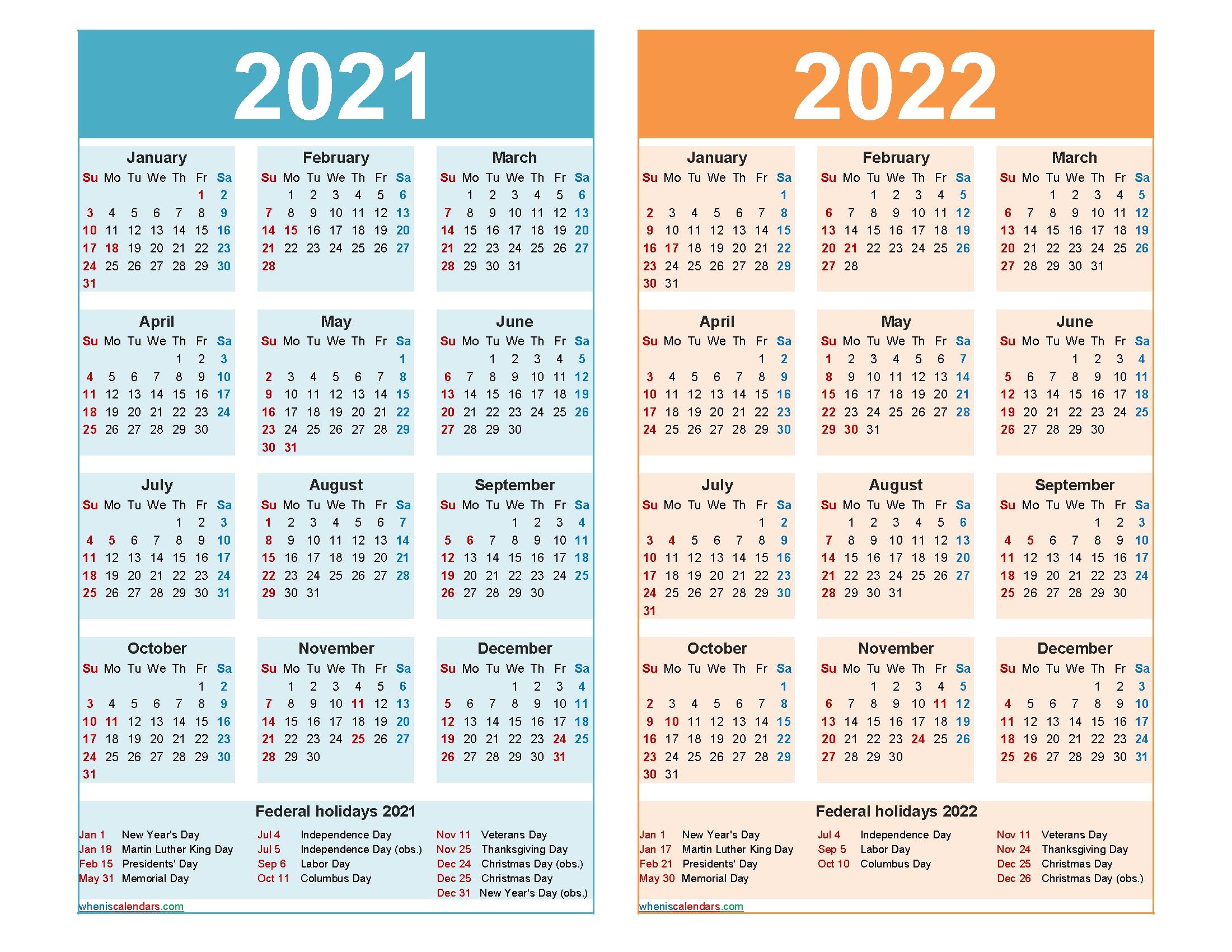 2021 And 2022 Calendar Printable Word, Pdf - Free
