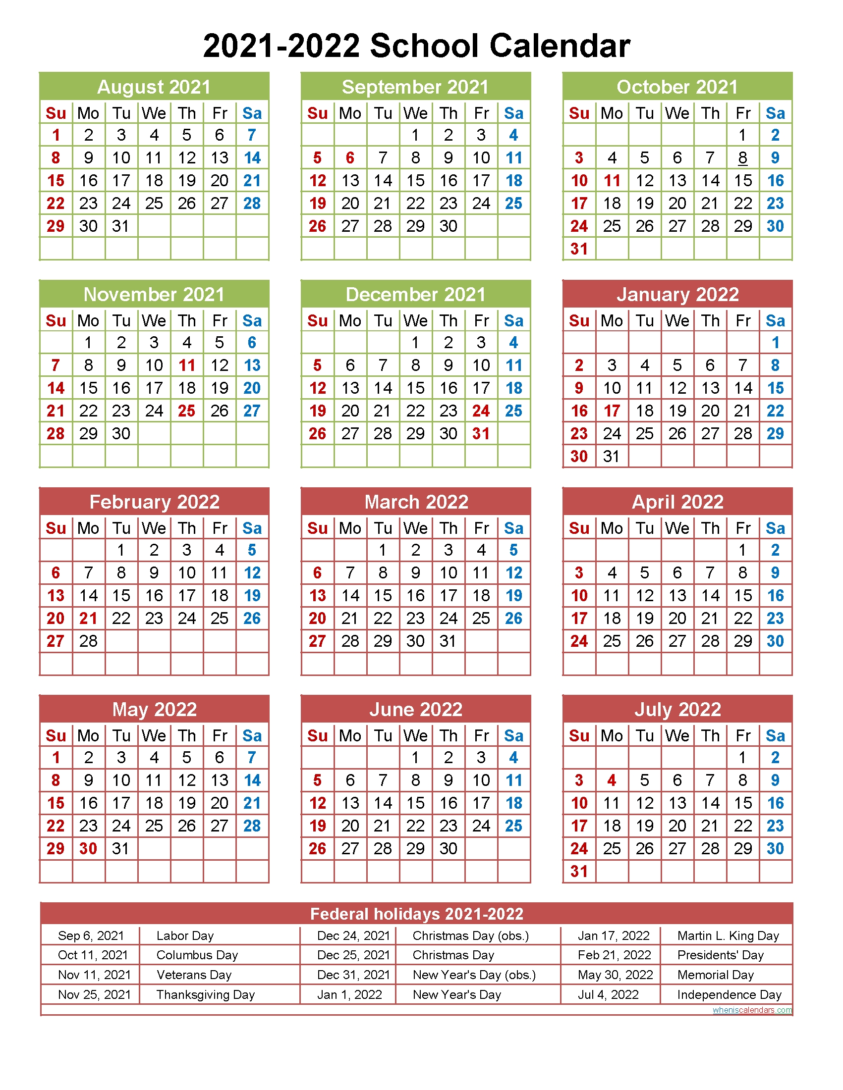 2021 And 2022 School Calendar Printable (Portrait