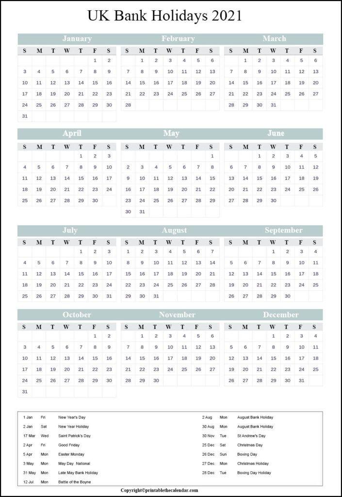 2021 Bank Holidays In Uk / Excel Calendar 2020 Uk 16