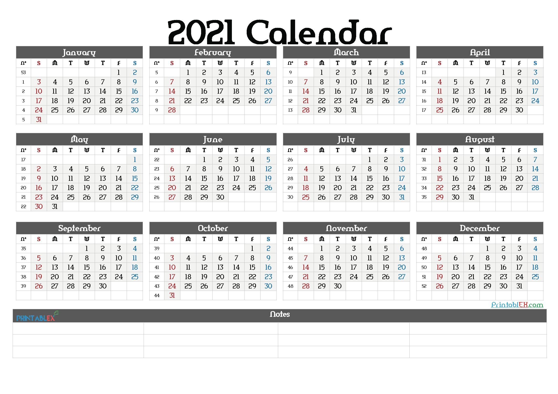 2021 By Week Calendar | Printable March