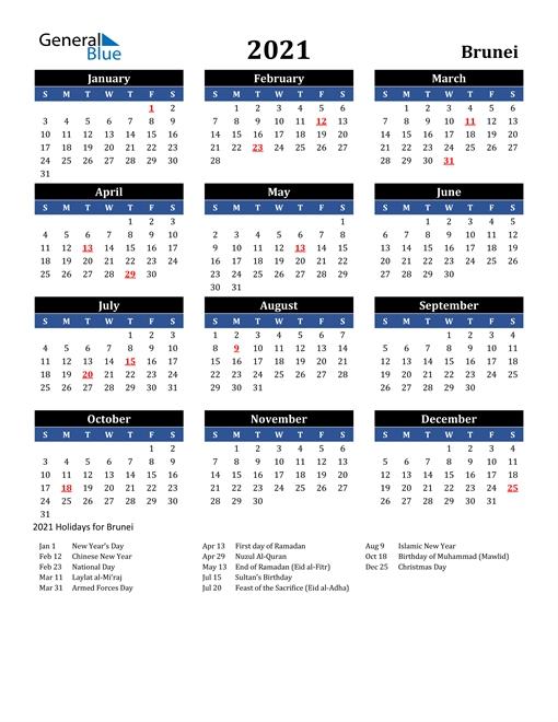 2021 Calendar - Brunei With Holidays