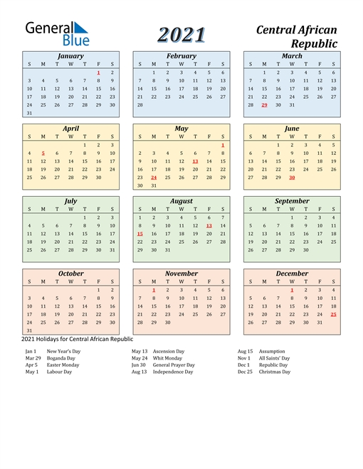 2021 Calendar - Central African Republic With Holidays