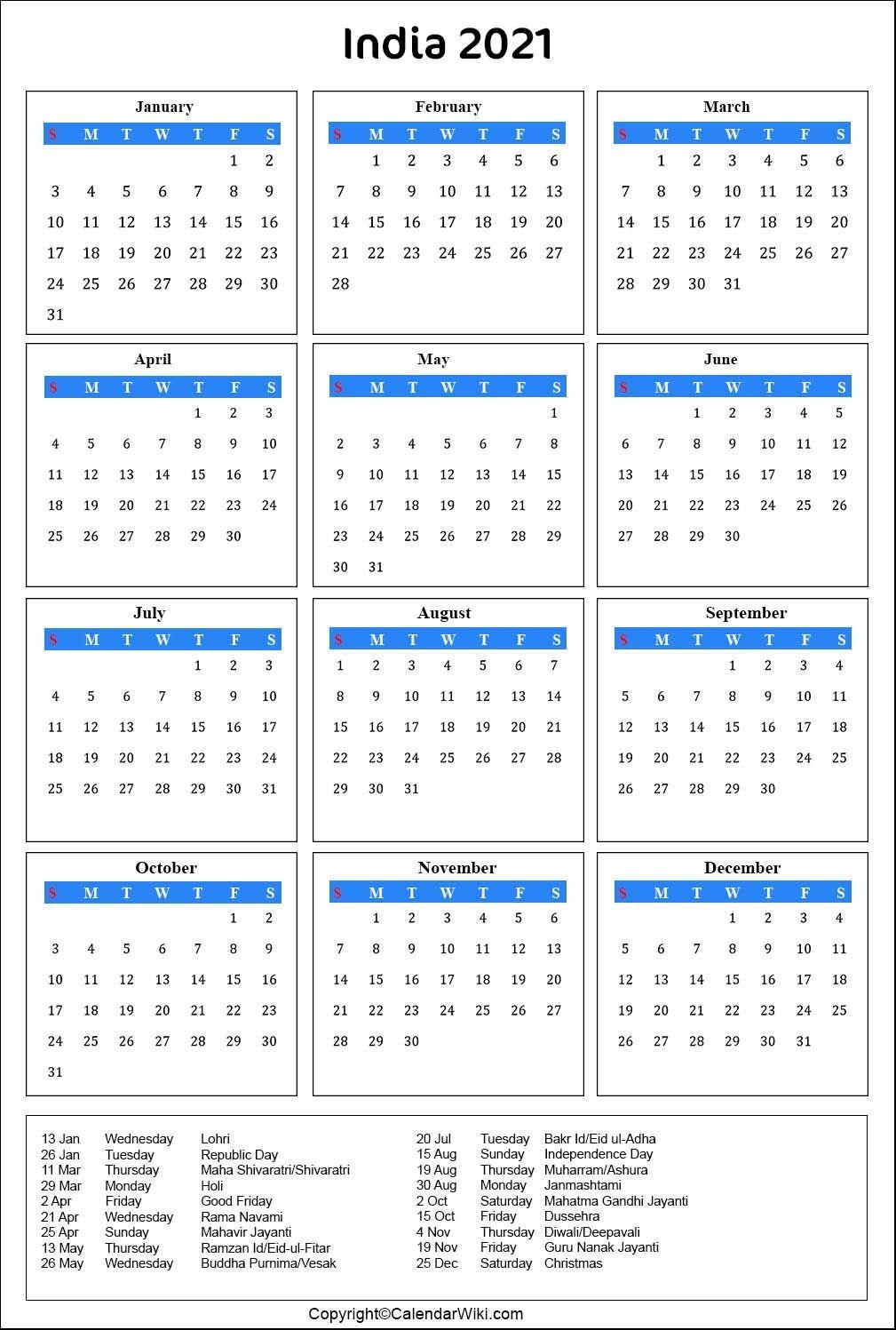 2021 Calendar Holidays List India | 2021 Calendar