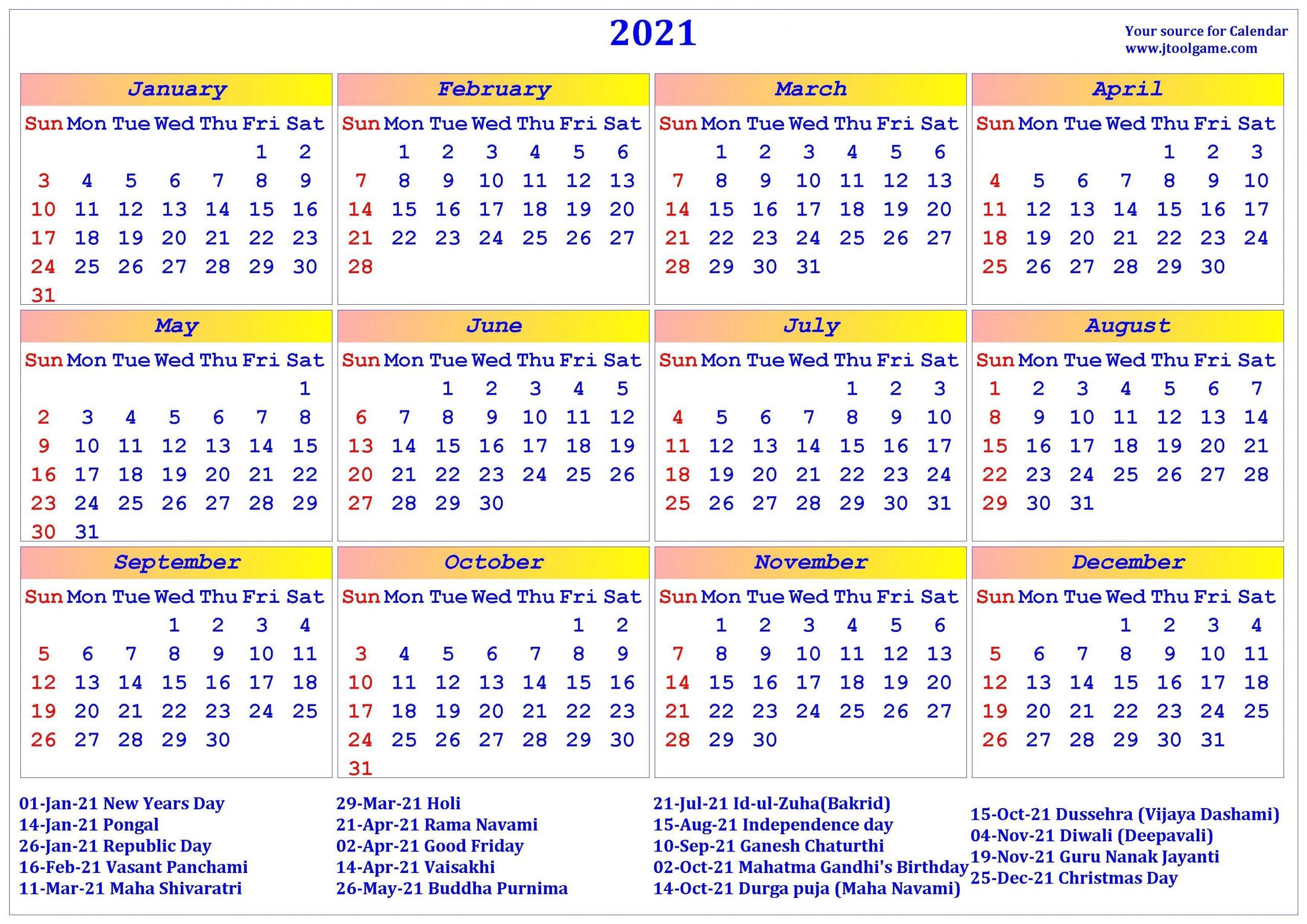 2021 Calendar - Printable Calendar With India Holidays