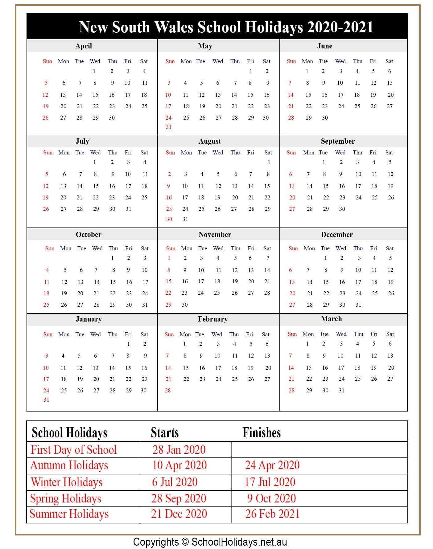 2021 Calendar With Nsw School Holidays   Printable