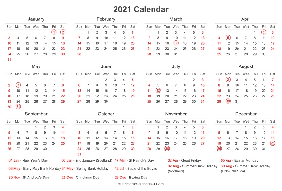 2021 Calendar With Uk Bank Holidays At Bottom (Landscape