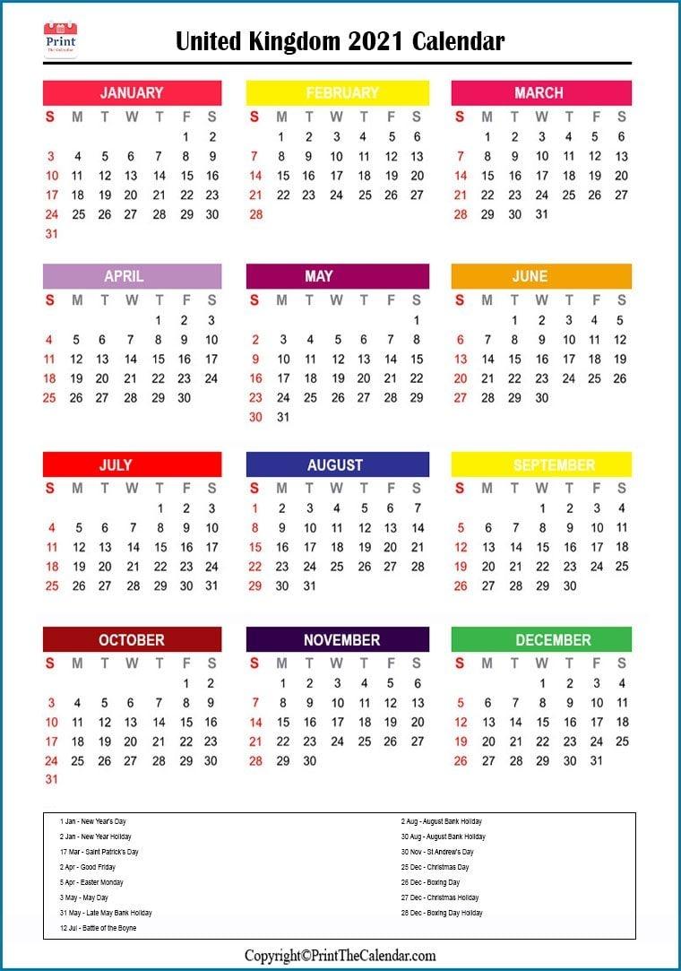 2021 Holiday Calendar Uk | Uk 2021 Holidays