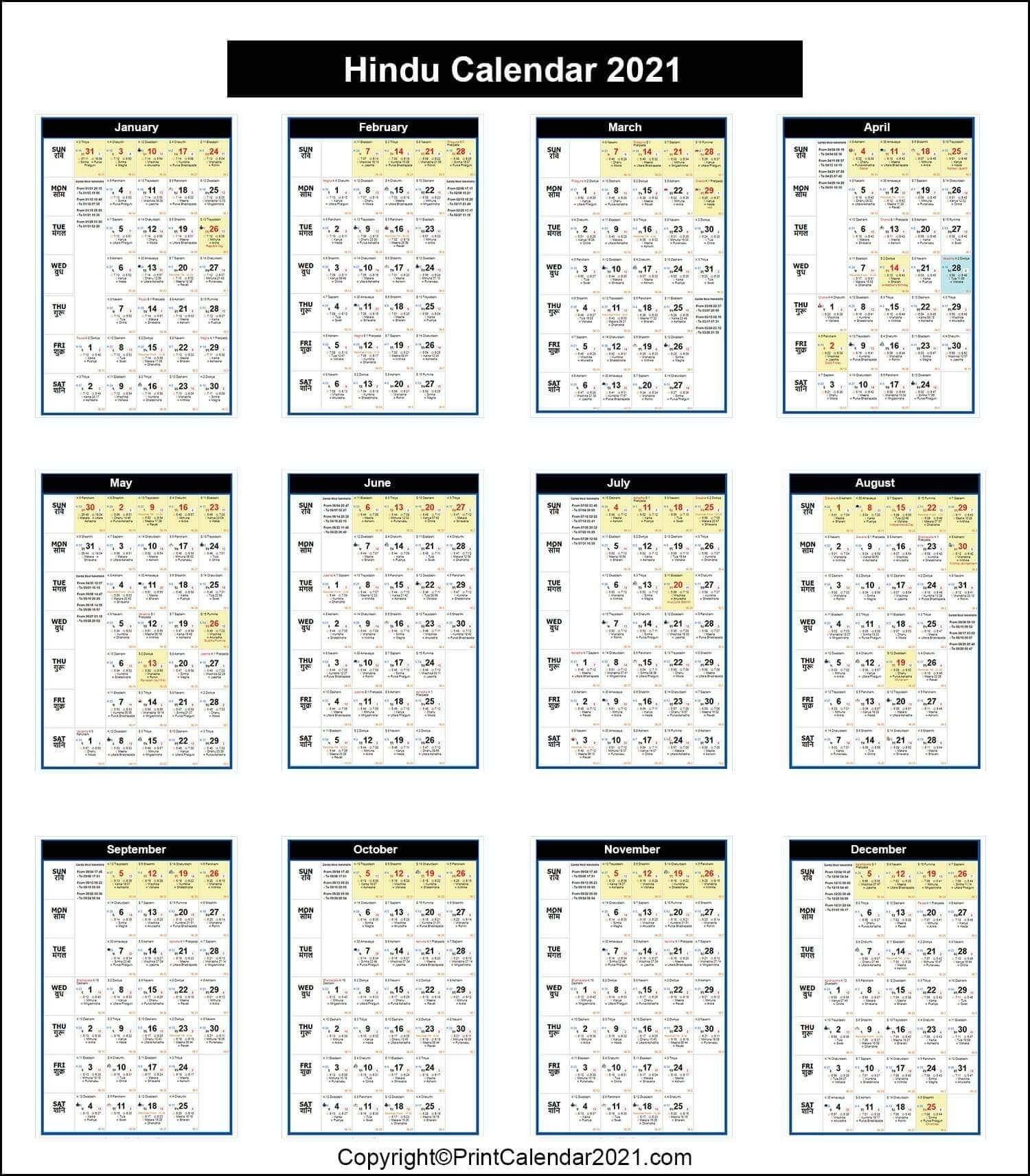 2021 Panchang Pdf | Month Calendar Printable