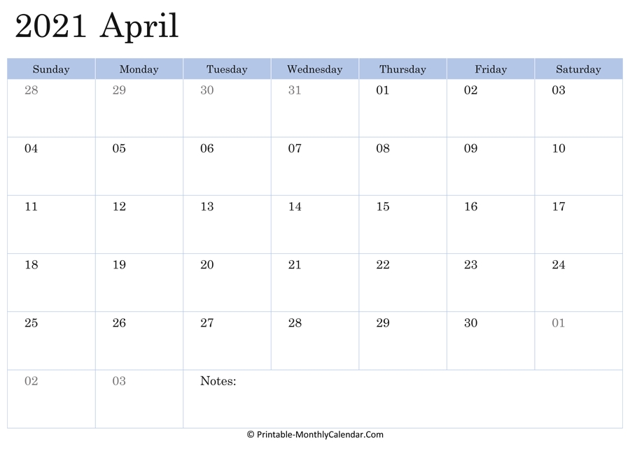 2021 Printable Calendar April