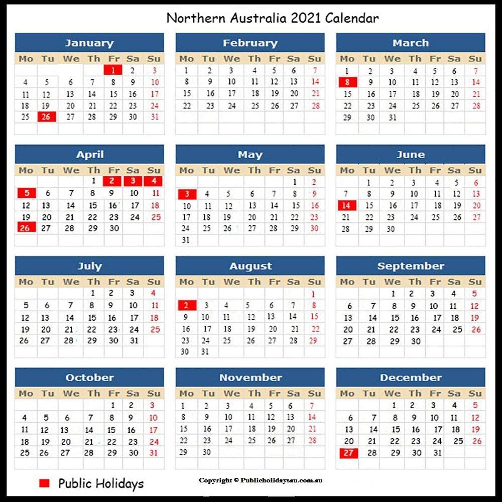 2021 Public Holidays Nt