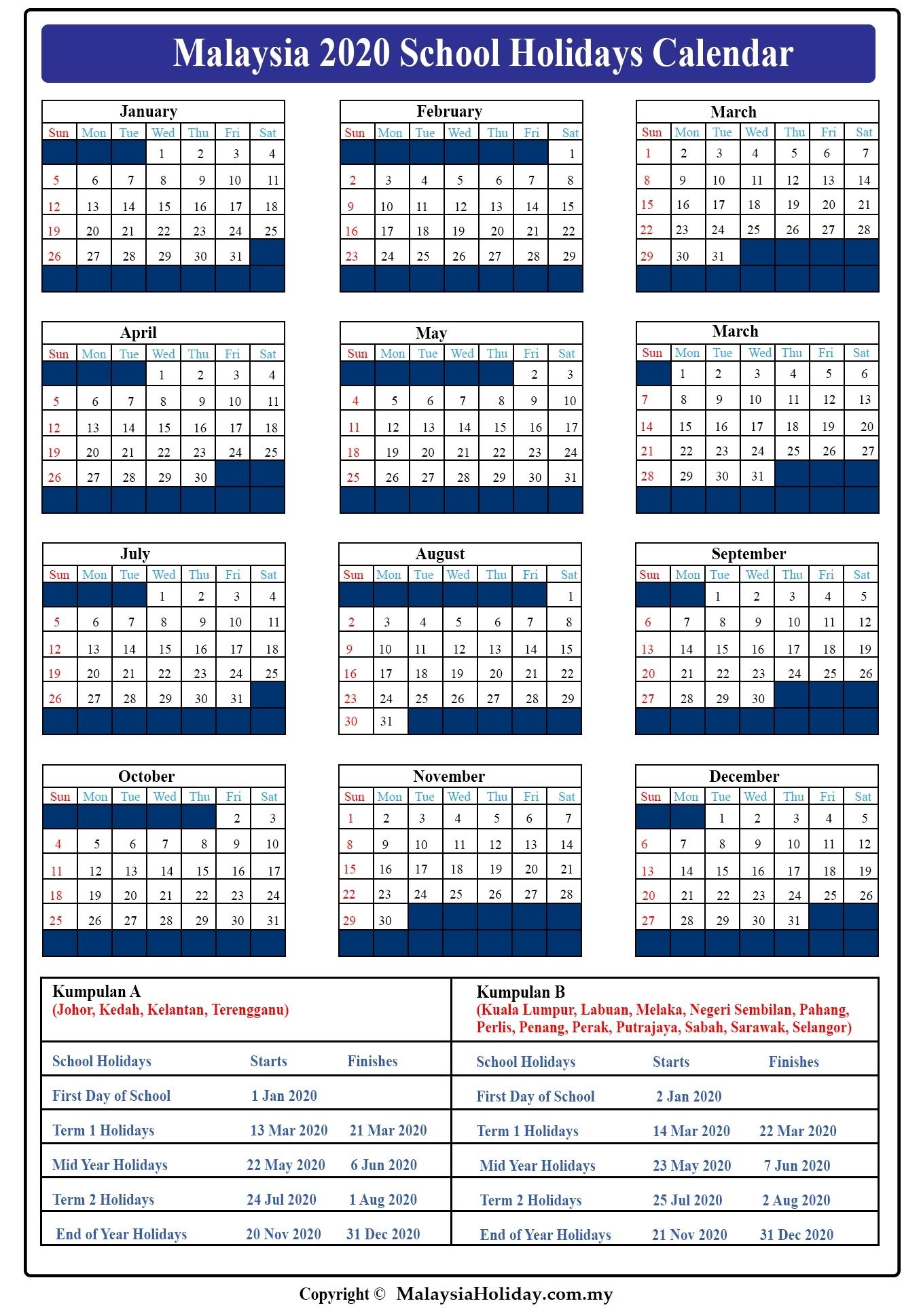 2021 School Holidays In Malaysia | Calendar Template Printable