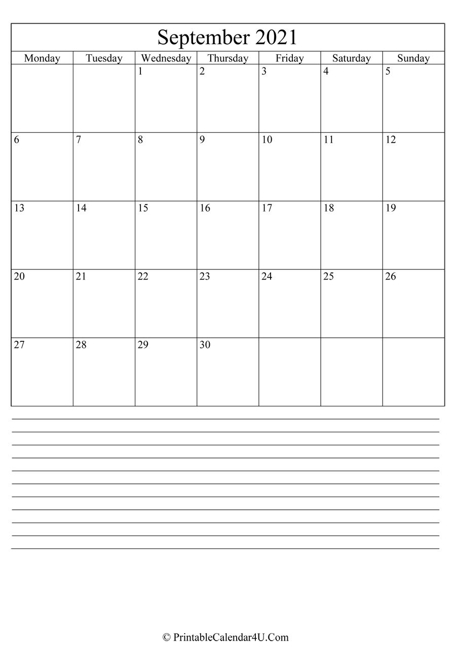 2021 September Calendar Pdf Portriat   Printable March