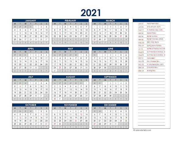 2021 Uk Annual Calendar With Holidays - Free Printable