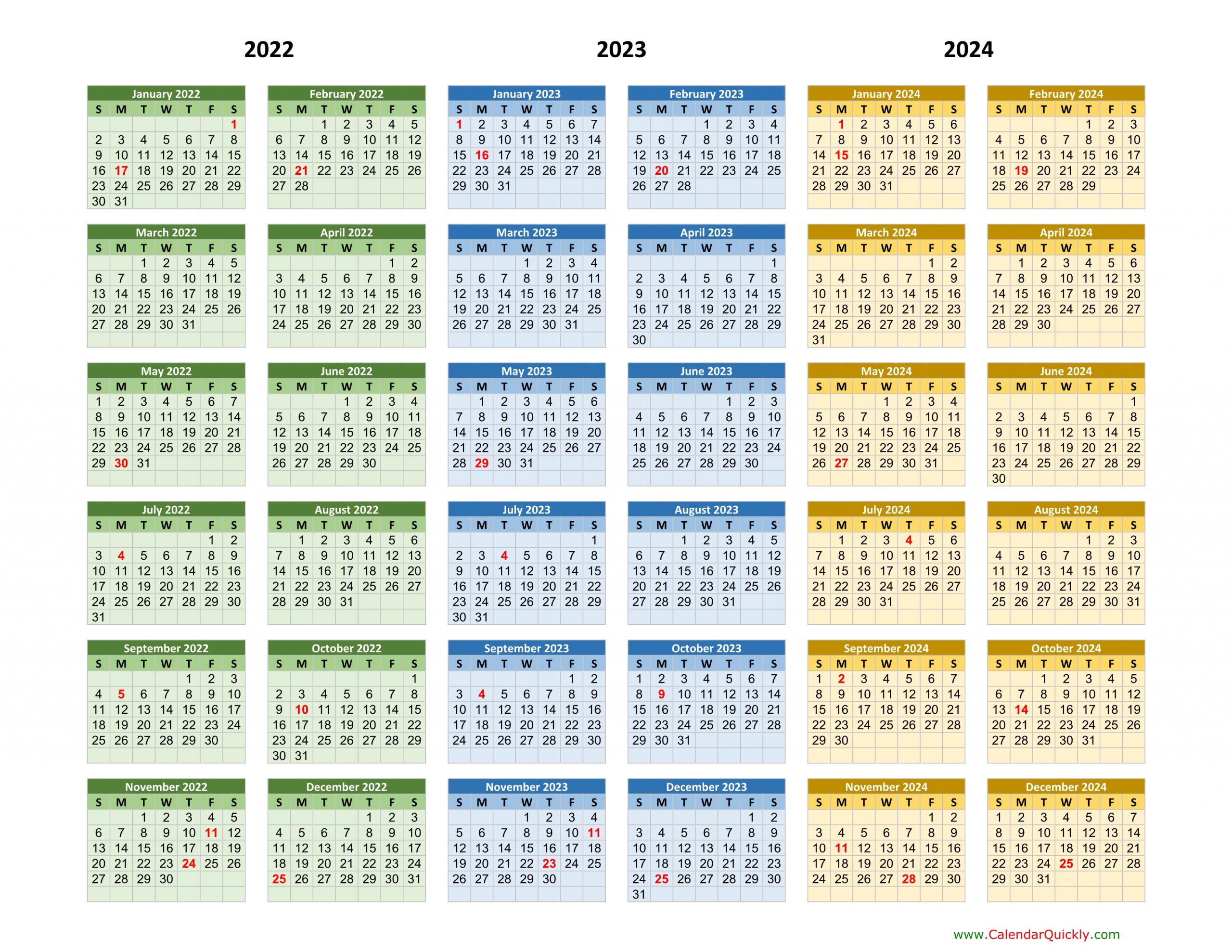2022-2023-2024 Calendar   Calendar Quickly