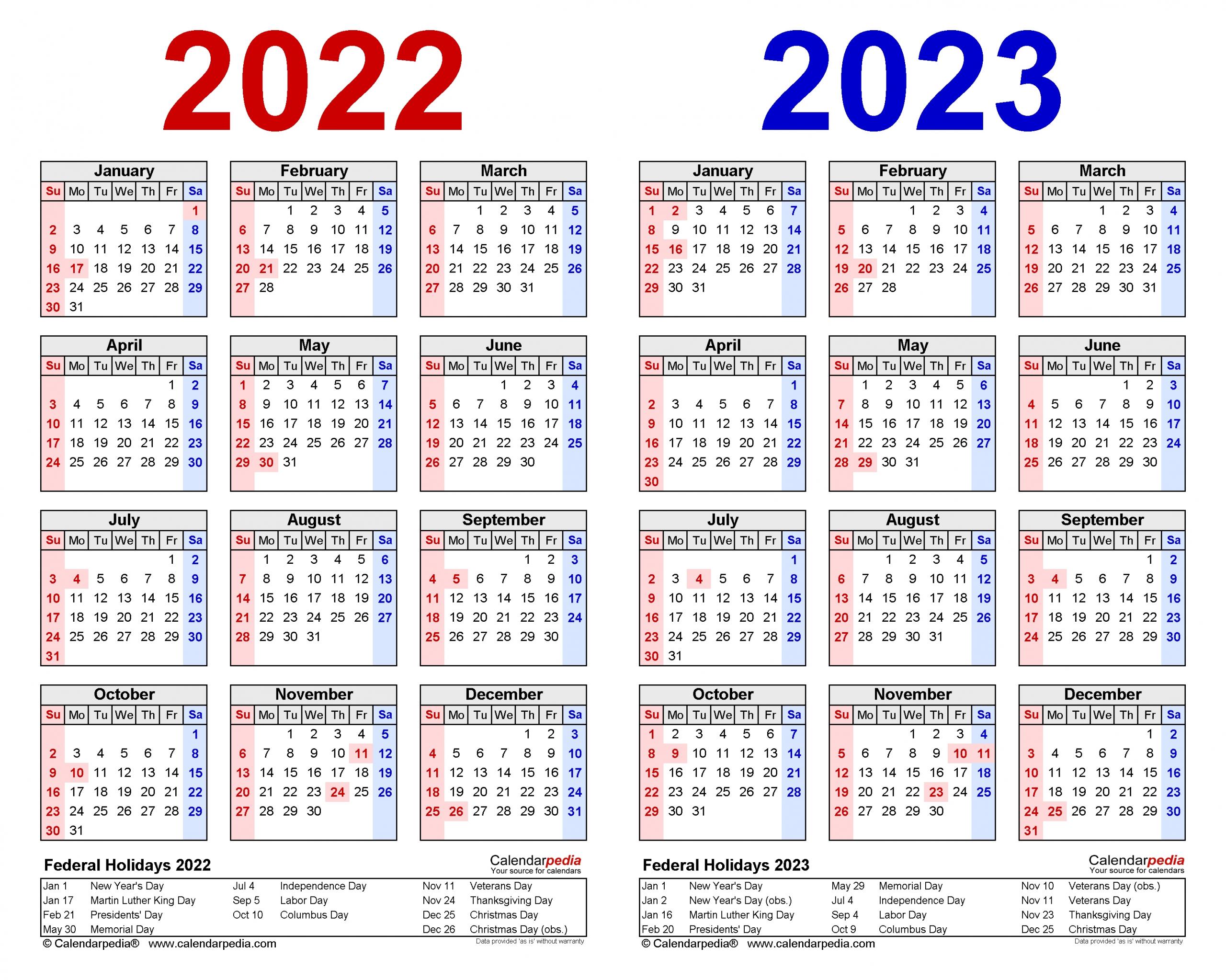 2022-2023 Two Year Calendar - Free Printable Word Templates
