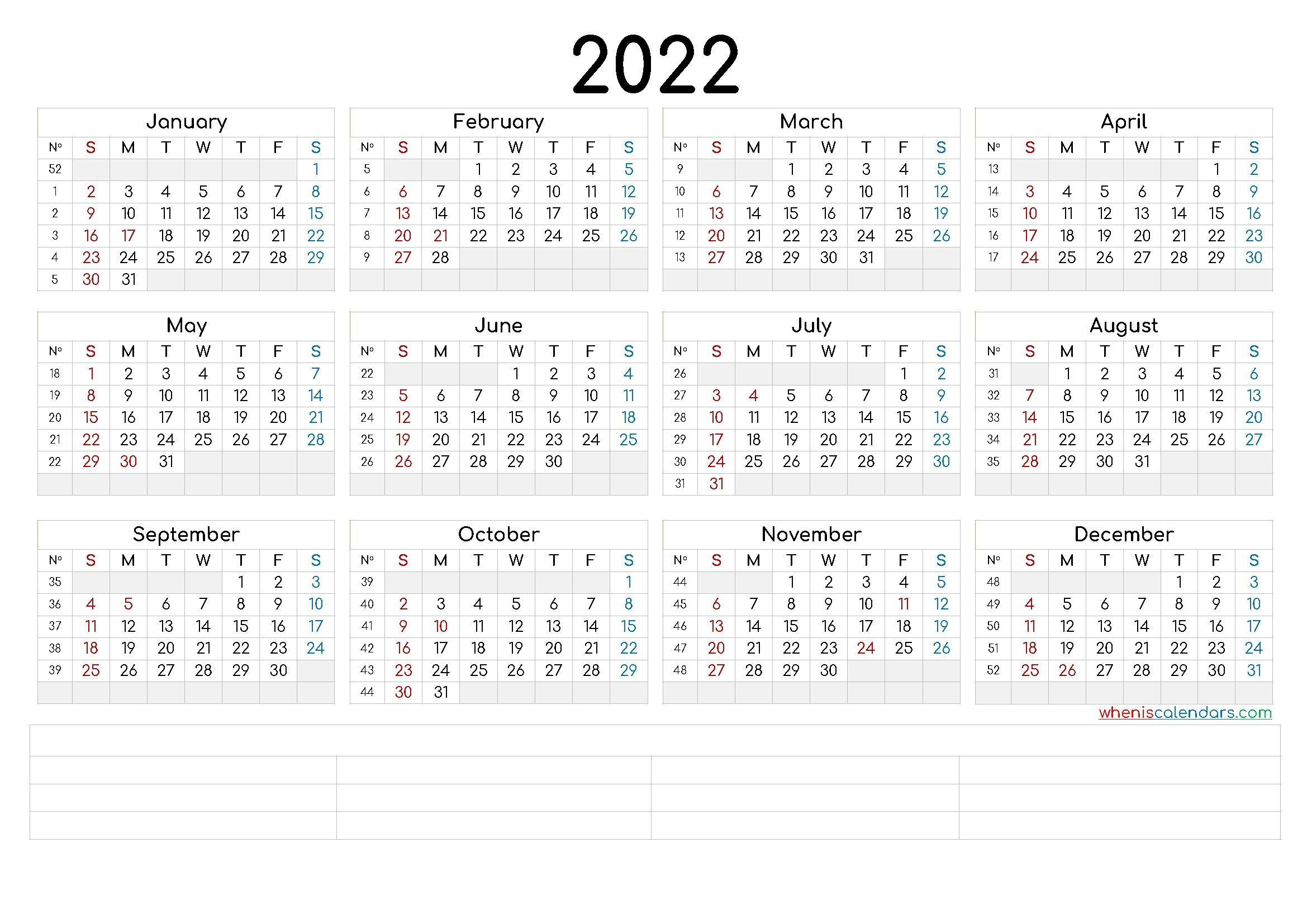 2022 Annual Calendar Printable (6 Templates)