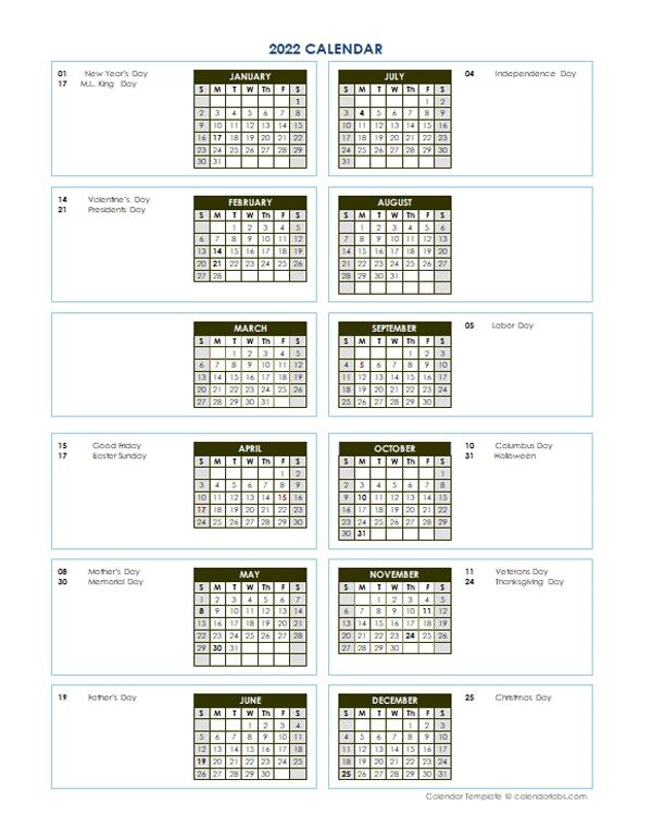 2022 Annual Calendar Vertical Template - Free Printable