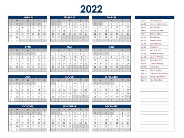 2022 Australia Annual Calendar With Holidays - Free