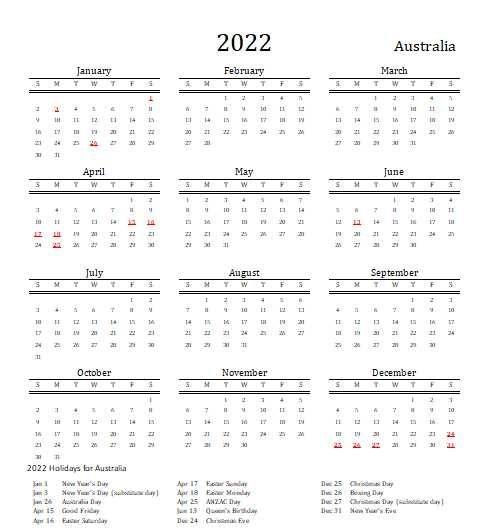 2022 Australia Calendar With Holidays   Allcalendar