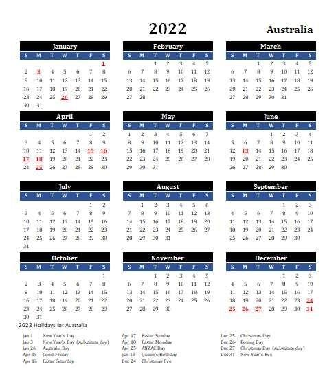 2022 Australia Calendar With Holidays | Allcalendar